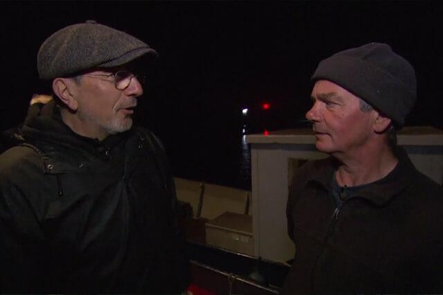 Alain Caron (l) en weervisser Henk van Schilt